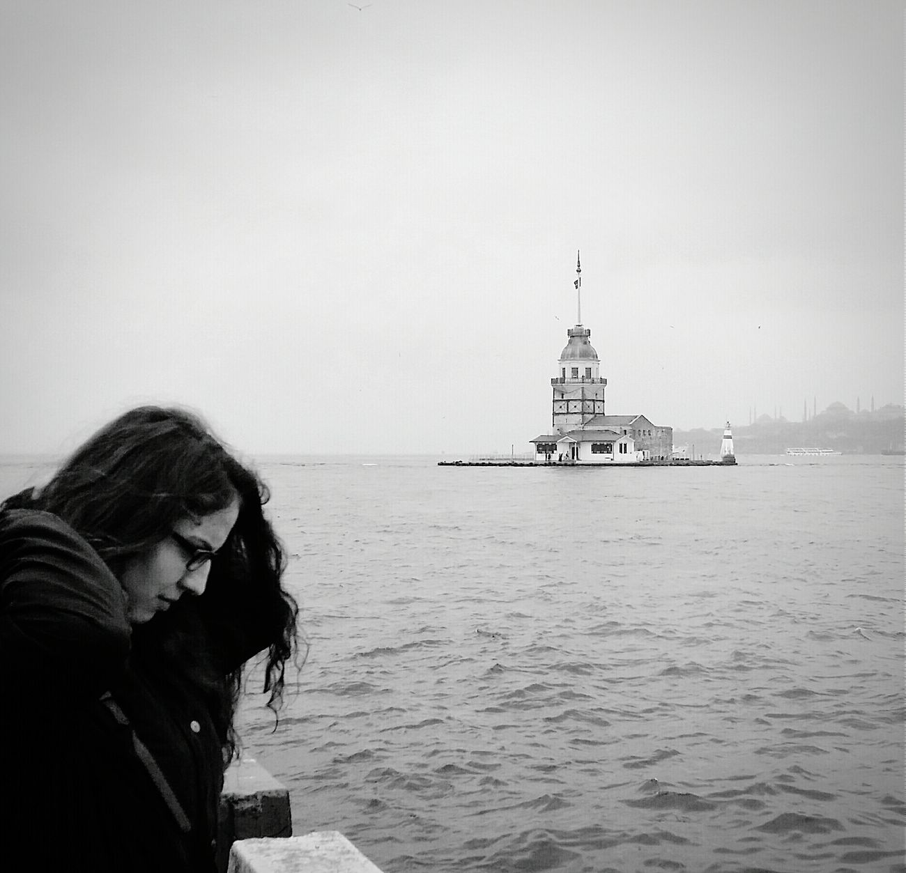 It's Me :) Maiden Tower Kız Kulesi Sea View View Peaceful View Black And White Photography Black & White