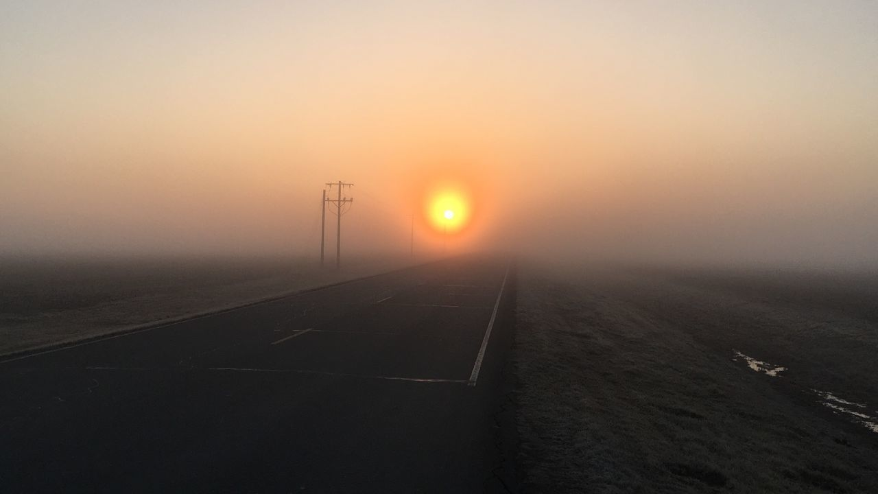 sun, sunset, transportation, nature, no people, fog, outdoors, landscape, beauty in nature, sky, winter, scenics, day