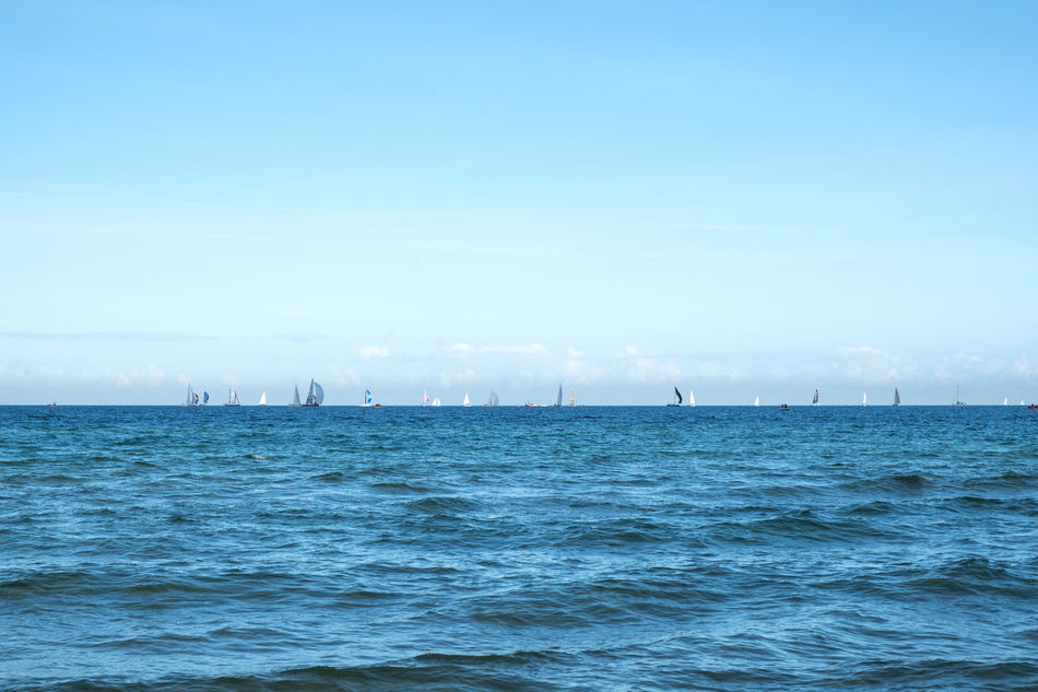 Baltic Sea Beauty In Nature Blue Competition Copy Space Day Horizon Over Water Minimalism Nature Nautical Vessel No People Outdoors Regatta Sailboat Scenics Sea Sky Tranquil Scene Water Waterfront
