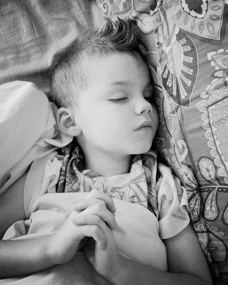 Mohawk boy praying in his sleep Childhood Sleeping My Baby Boy Praying Hands Peaceful