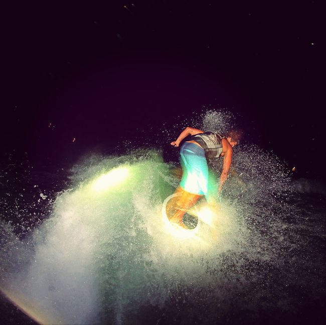 Surf's Up Adrenaline Junkie Young Adult Washington Learn & Shoot: Single Light Source Wakesurfing Water Glitch Active Lifestyle  Capture The Moment Pacific Northwest  Fun Enjoying Life Balancing ActChad Douglas with a 360 while wakesurfing
