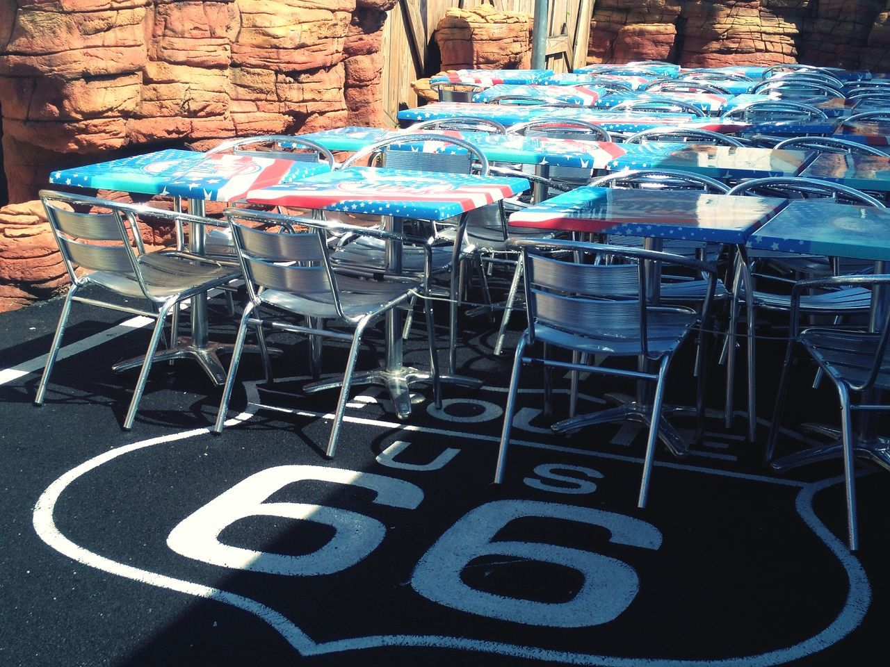 No People Day Outdoors Table Restaurant Terrace Iron - Metal Iron Flag American America United States Seat Vintage Old Style American Dream Life Road Road 66
