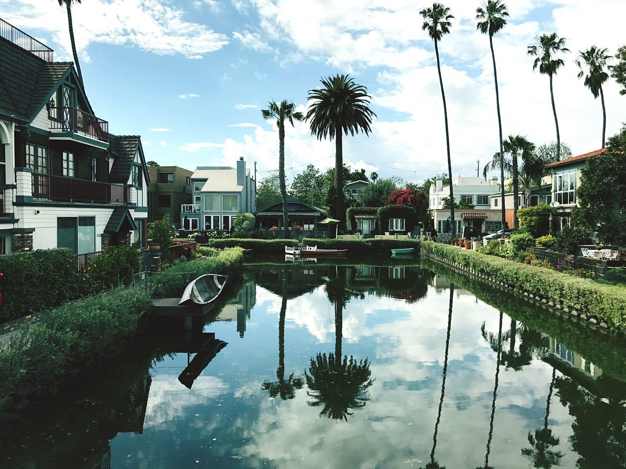 Reflection Water Sky Outdoors Palm Tree Cloud - Sky Waterfront Nature Venice Canals California California Dreaming