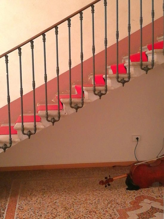 No People Red Architecture Built Structure Staircase From Above Staircase Cello