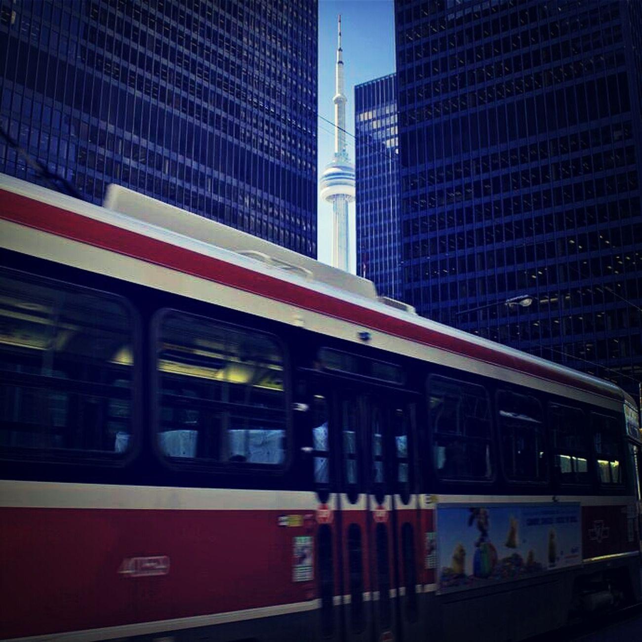 Toronto Skyscrapers Streetcar CN Tower Bay Street King Street Streetcar