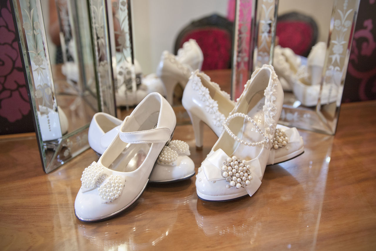 Bride Shoes Celebration Close-up Day Flower Girl Flowergirl Flowergirl Shoes Indoors  Love Mirror Mother & Daughter No People Reflection Reflections Shoe Wedding Wedding Day Wedding Interior Wedding Photographer Wedding Photography Wedding Photos Wedding Shoes Wedding Venue Weddings