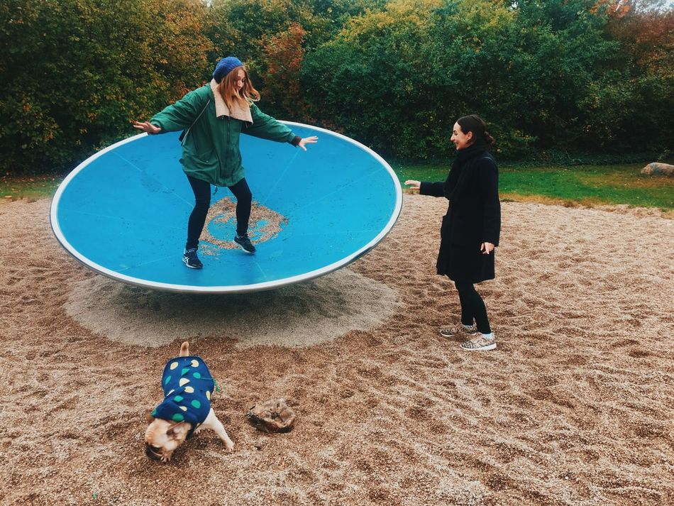 Full Length Leisure Activity Lifestyles Casual Clothing Person Elementary Age Playing Bonding Childhood Innocence Mid-air Day Young Adult Outdoors Togetherness Carefree Playground Autumn Park - Man Made Space Connection Two Woman Sisters Playful Fun Dog