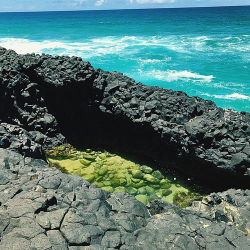 Beauty In Nature Rockpool Sea Green And Blue Hues Tranquility