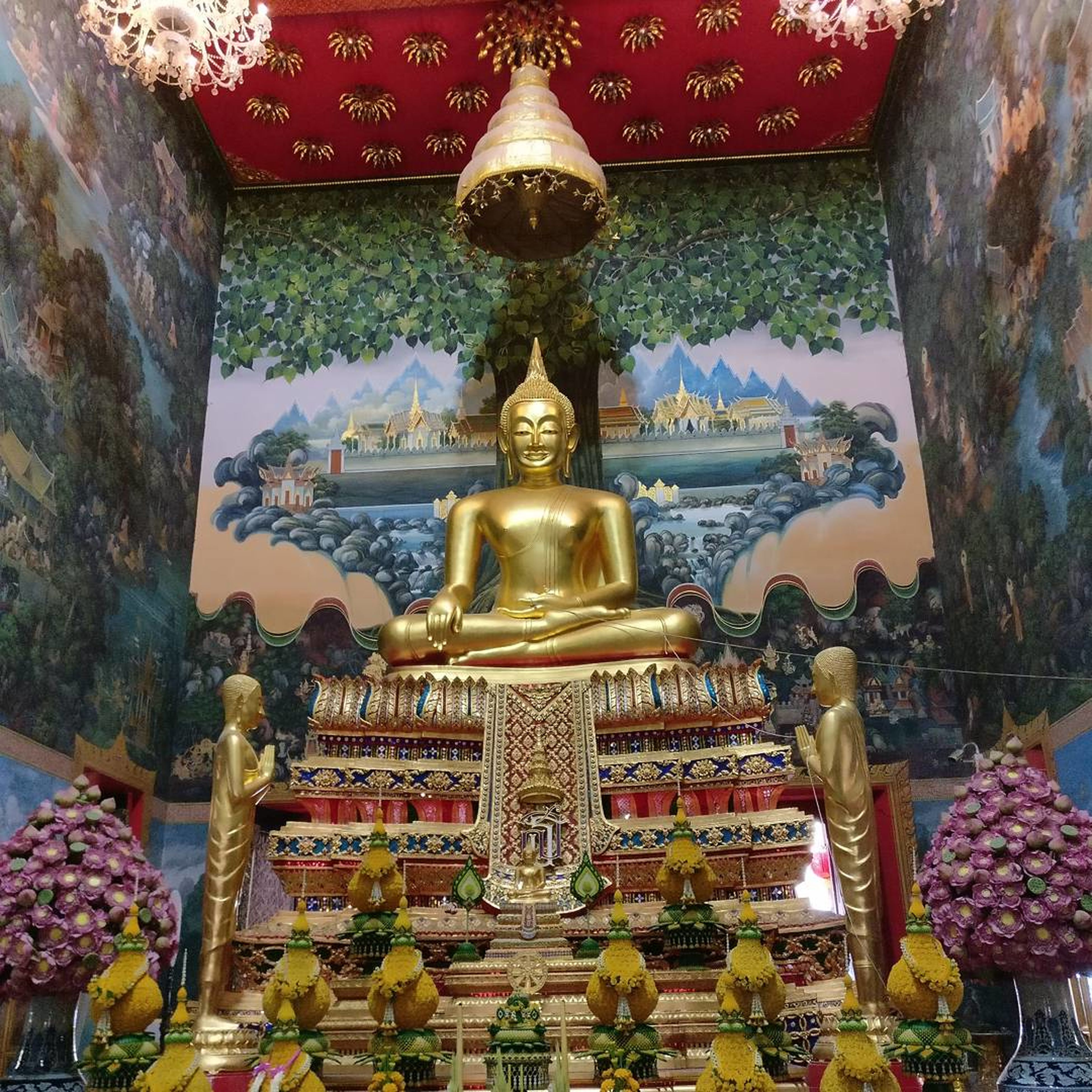 religion, gold colored, place of worship, gold, architecture, spirituality, travel, cultures, no people, statue, landscape, mountain, sky, outdoors, day