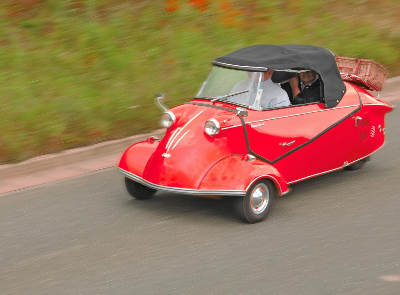 Messerschmidt cabin scooter Blurred Motion Cabin Scooter Car Day Messerschmidt Motorsport No People Outdoors Red Vintage