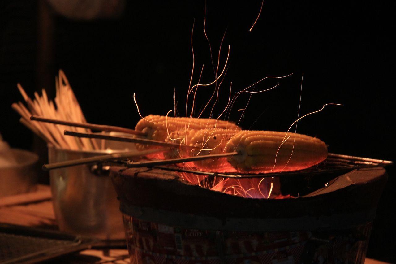 night, burning, heat - temperature, no people, close-up, outdoors, food