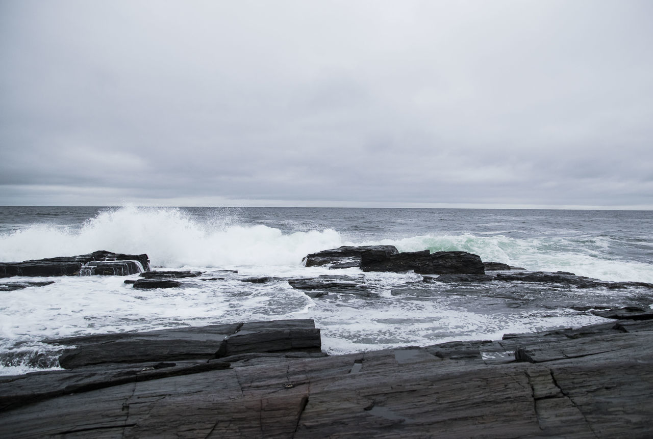 Beach Beauty In Nature Bird Day Eastern Seaboard Hiking Hiking Adventures Horizon Over Water Nature No People Outdoors Portland Maine Rocks And Sea Rocks And Water Scenics Sea Sky Splashing Waves Tide Tranquil Scene Tranquility Water Wave