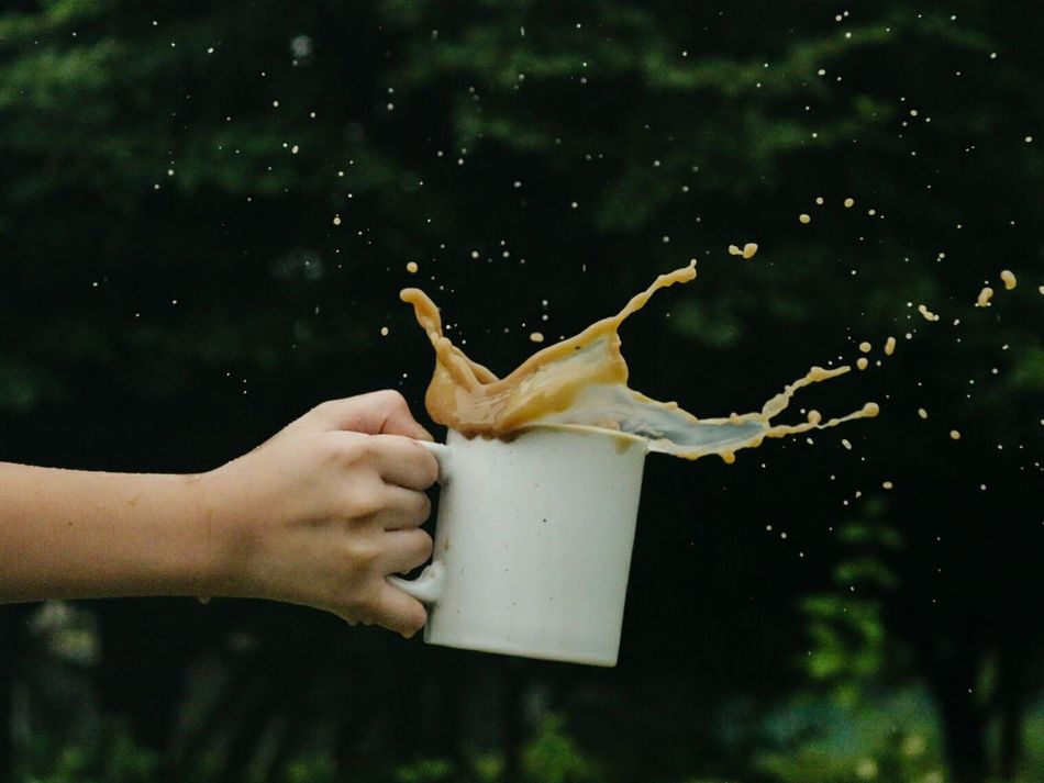 Adult Adults Only Close-up Coffee Day Holding Human Body Part Human Hand Nature One Person Outdoors People Speed Splashing Stopmotion Fresh On Market 2016