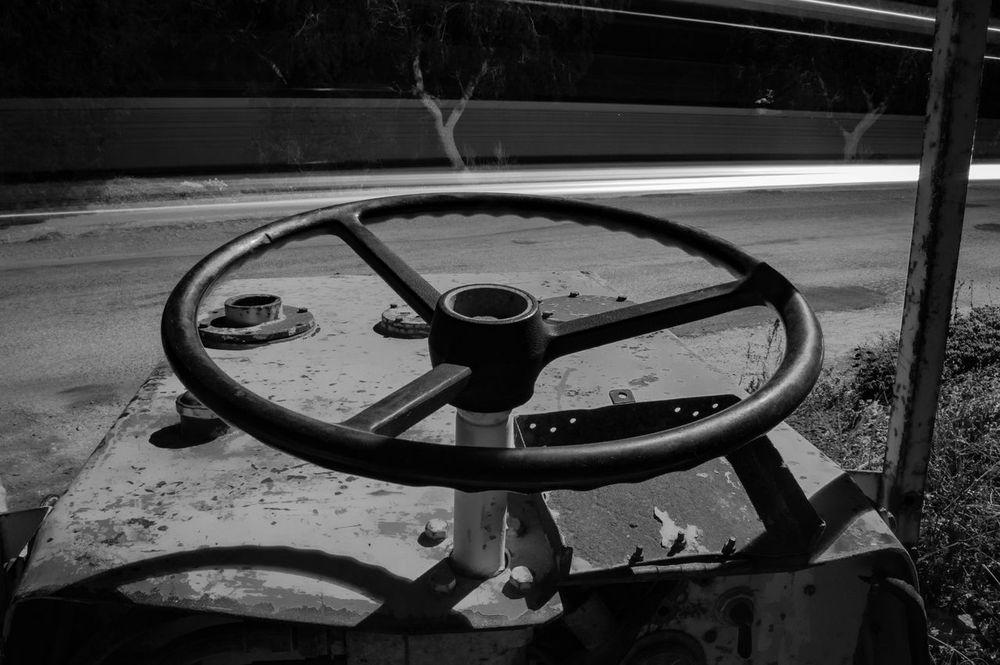Nightshift Blackandwhite Night Road Roller Rusty Stearingwheel Vintage Black And White Working Street Vehicle