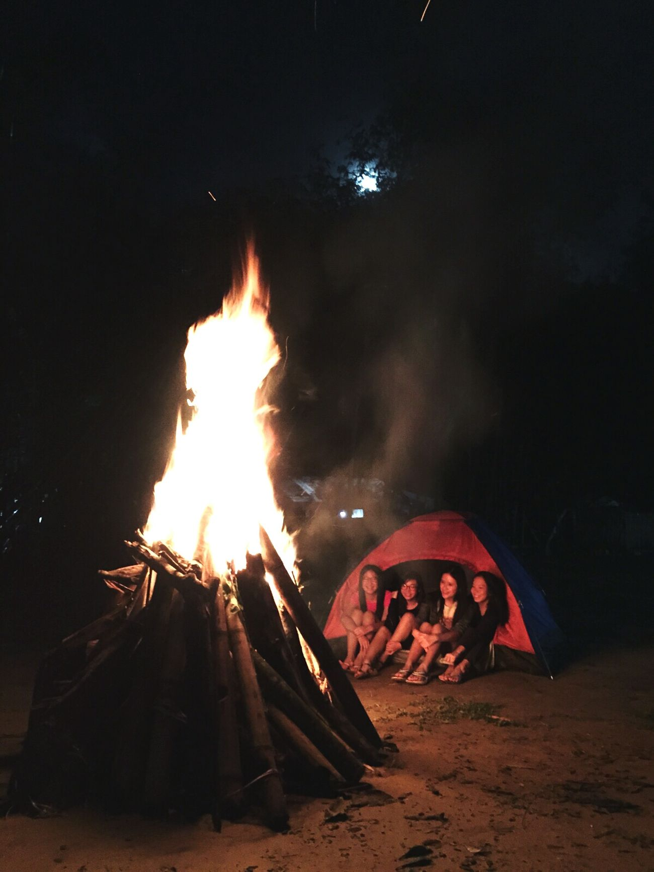 Campfire#nature# Girls Tent Full Moon Night