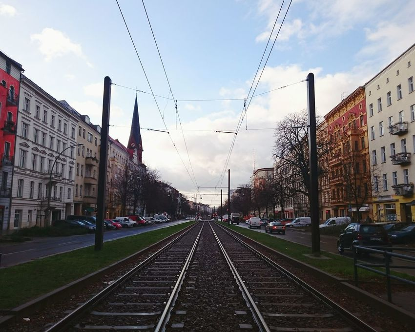 Berlin Kiez Vanishing Point Lines Symmetrical Rails Colors