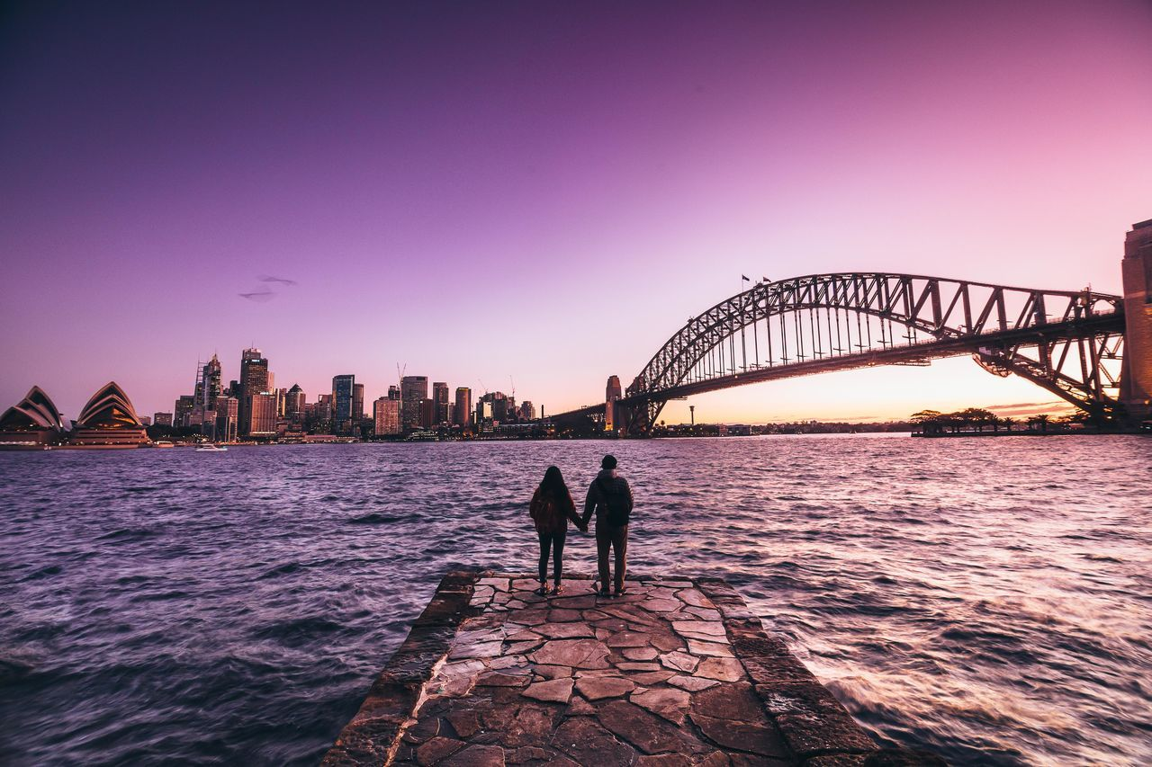 Feeling the world and our heart Architecture Australia Bridge Bridge - Man Made Structure Built Structure City City Life Connection Couple Feel The Journey Leisure Activity Lifestyles Love Nature Outdoors River Silhouette Sky Sunset Sunset Silhouettes Sydney Travel Destinations Water