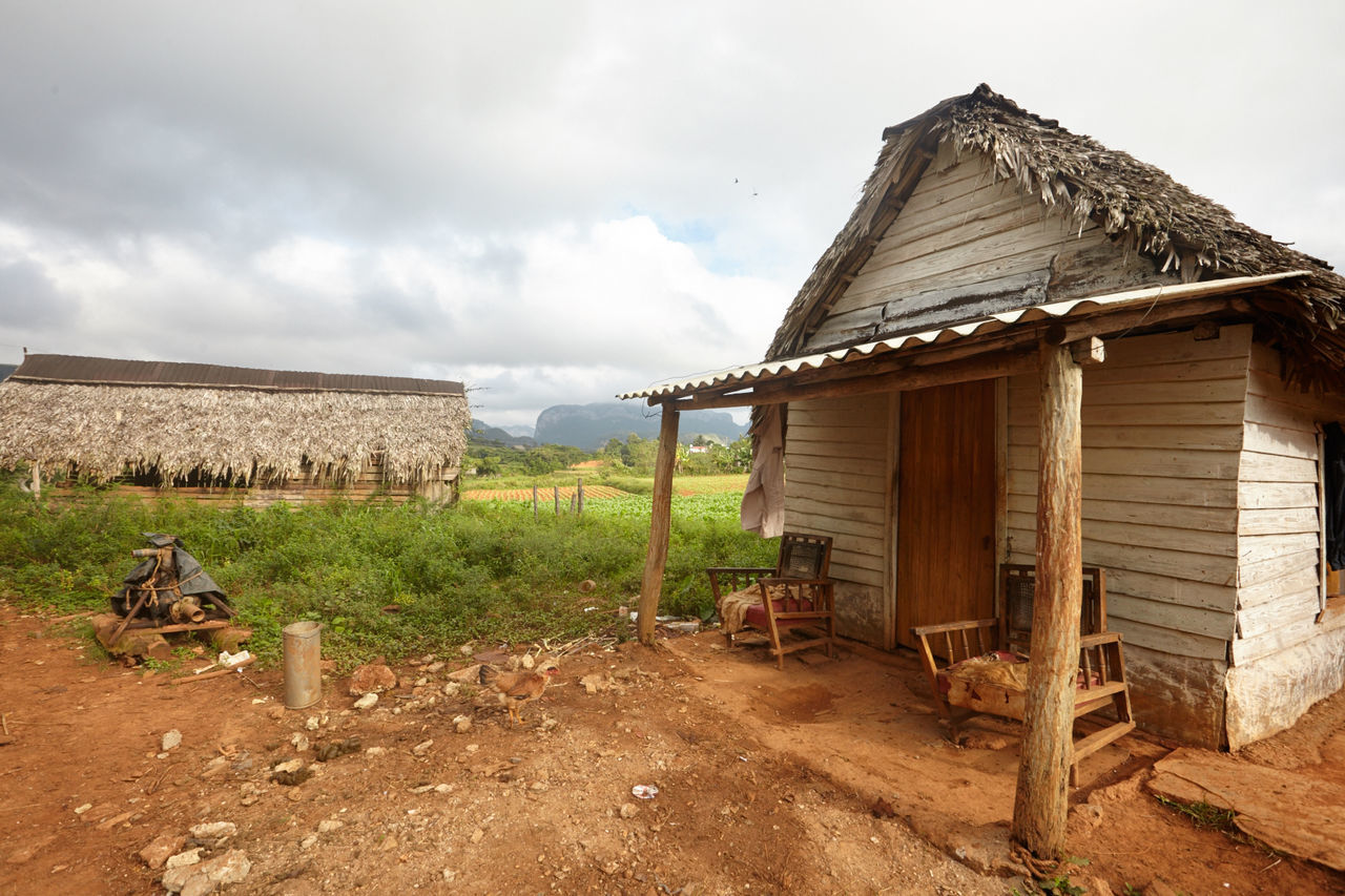 Abandoned Architecture Building Exterior Built Structure Cloud - Sky Countryside Cuban Life Day Hut Landscape Nature No People Outdoors Rural Scene Sky Tobacco Leaf