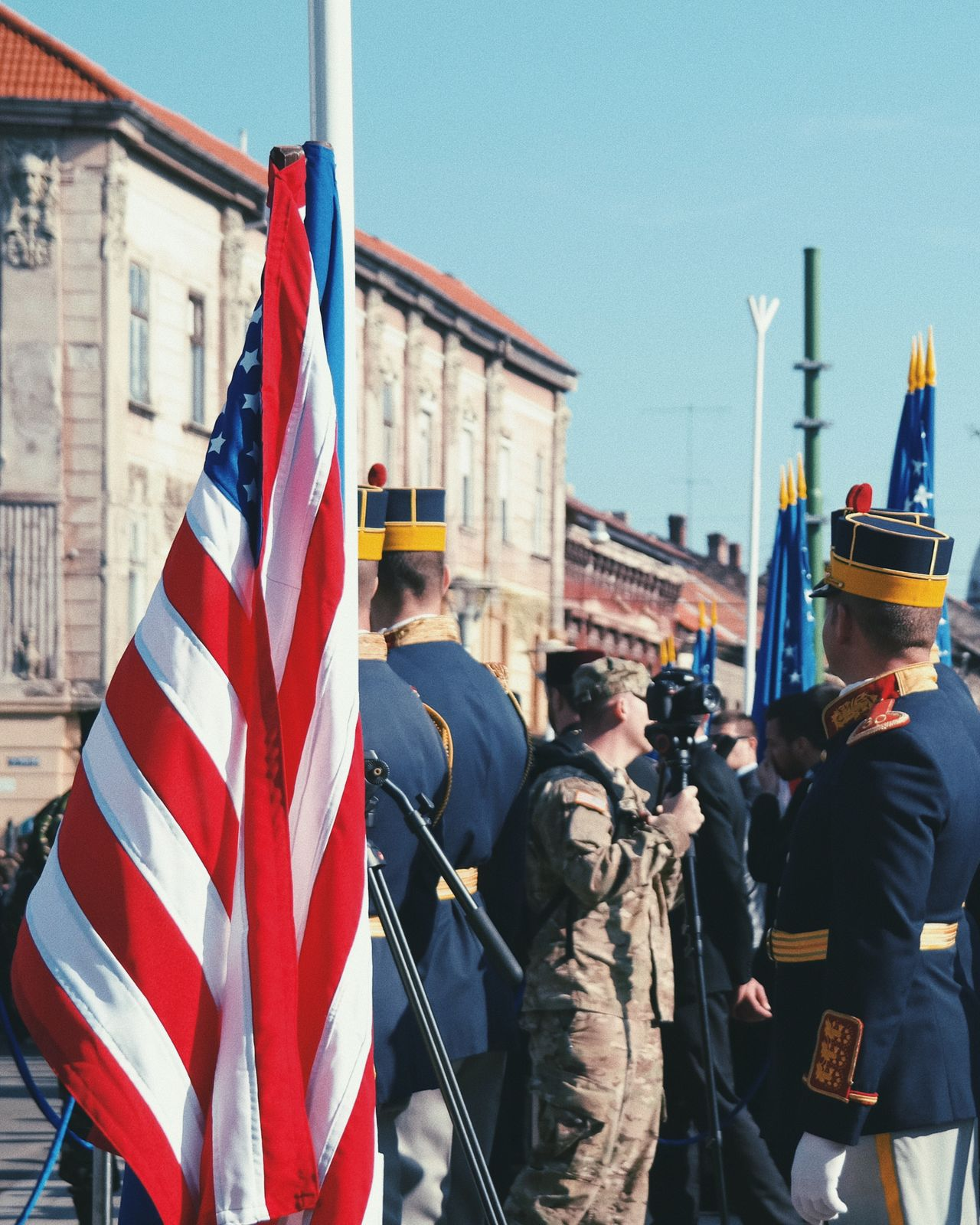 Raise the flag... Flag Patriotism Architecture Military Military Uniform Military Parade Uniform Ceremony Parade Us Military US Flag Flags Outdoors Street Life Urban Made In Romania Europe European Union Cityscape Details Of My Life City Life City People Army Soldier