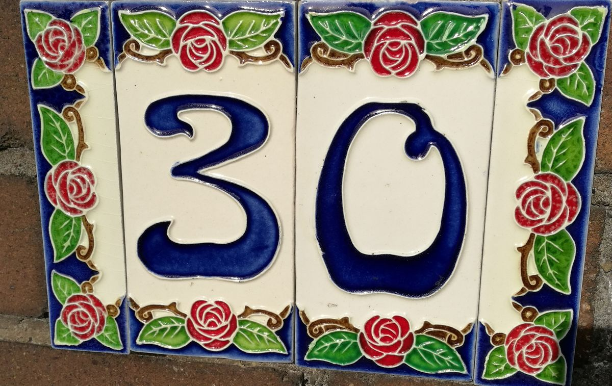 No People Day Number House Number Sign Art Thirty Pattern Rose - Flower Art Is Everywhere