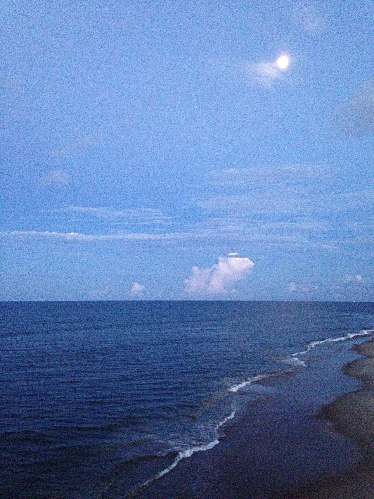 Getting darker at Jennette's Pier. OBX14 Moon Water Beach