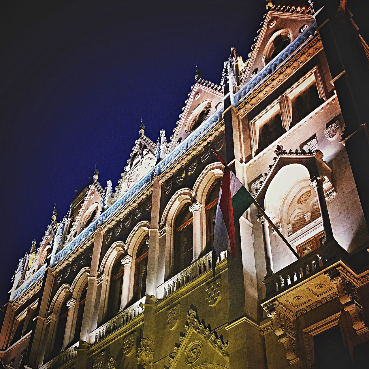 Arch Architecture Budapest Building Exterior Built Structure Capital Cities  City Clear Sky Famous Place Flag History Hungary International Landmark Low Angle View Night Orszaghaz Parliament Place Of Worship Sky Tourism Travel Travel Destinations Cities At Night