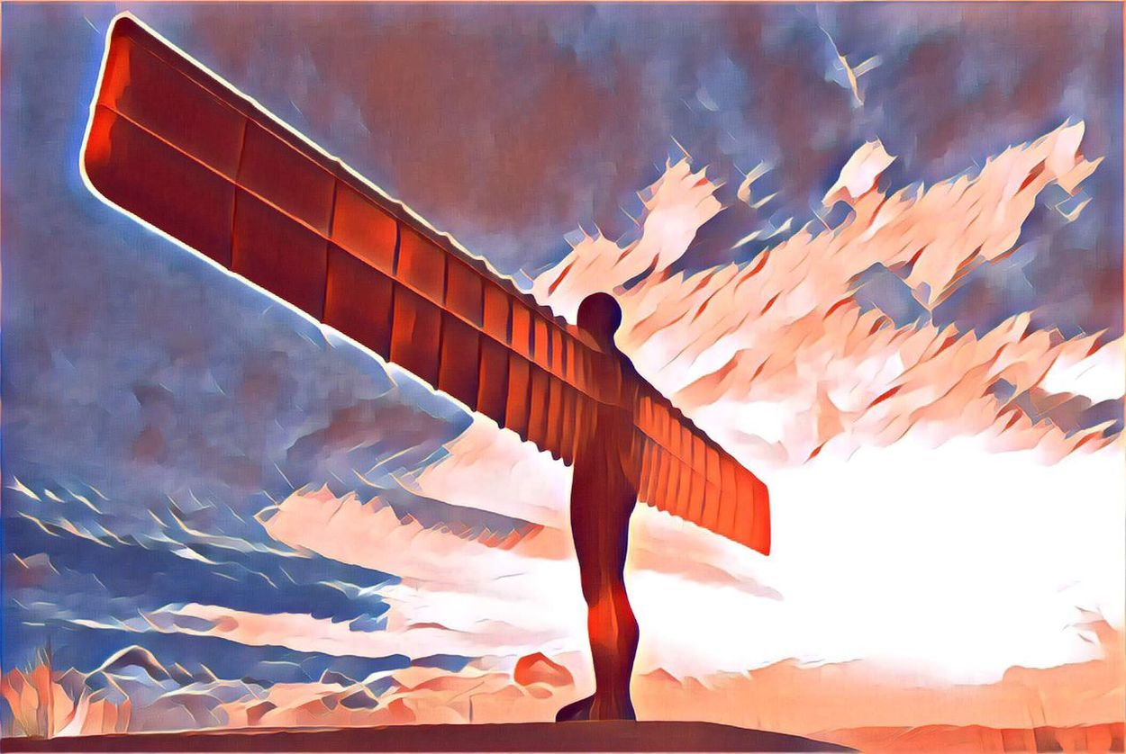 Angel of the North Cloud - Sky Wind Low Angle View Sky Outdoors No People Day Nature Posterized Poster Art Pop Art Pop Art Inspired Statue Monument Sculpture Public Art