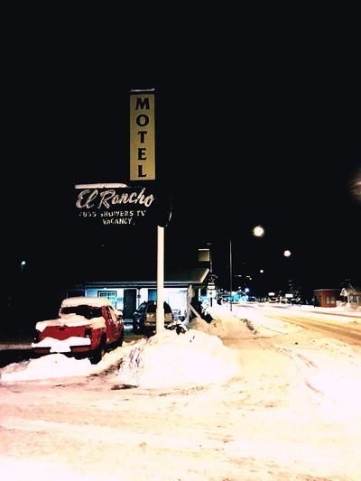 Motel El Rancho Snow Night Winter Cold Temperature Outdoors No People Vintage Retro Architecture Old School Downtown Vacation Travel One Star Residential Building Neon Sign EyeEm Best Shots EyeEmBestPics EyeEm Best Shots - Landscape Holiday Motor Hotel Vacancy Red Truck
