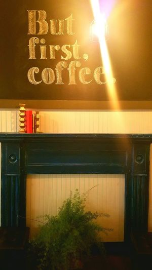 But first, coffee. Coffeeshop Butfirst,coffee Cafe Quite Warmseating Relax Fire Place Chalk Board Warm Lighting Coffee Coffee Break Indoors  Night No People Illuminated Architecture Sky