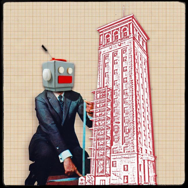 Working Robot Working Hard Work Worker Architecture Architecturelovers Measure Measurement Robot Science Fiction Inteligent  Design Graphic Graphic Design Building Exterior Building Architecture Collage Vintage Toy Photography