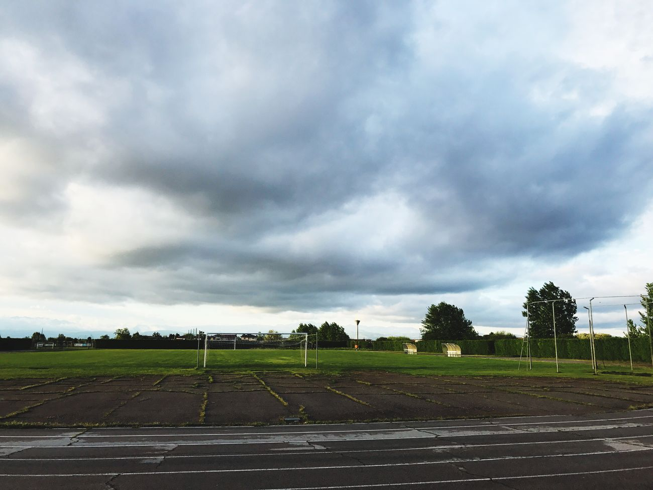 Football Cloud - Sky Sky Running Track Landscape Field Day Tranquility Sports Track Road Nature No People Outdoors Soccer Field Scenics Beauty In Nature Tree Photograph Photography Videographer Nature_perfection Nature Outdoor Photography