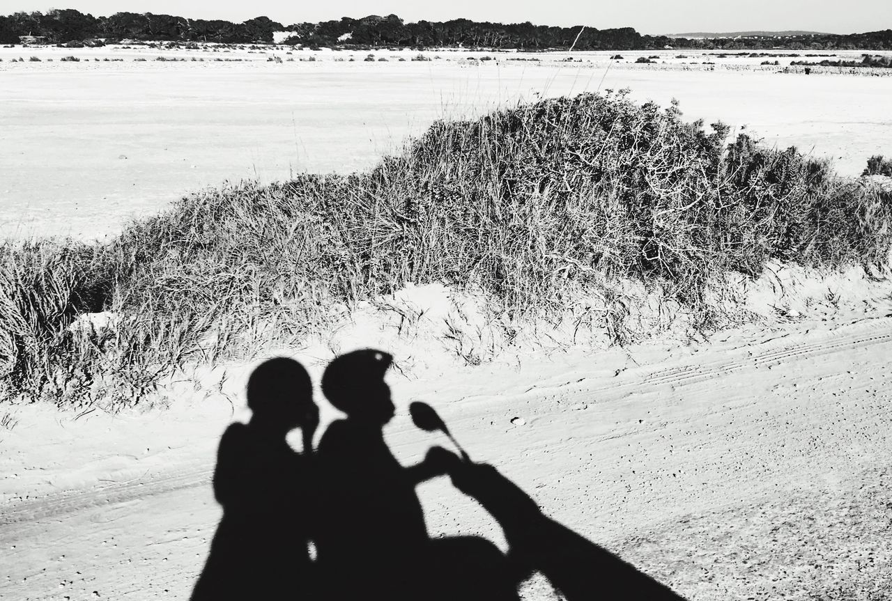 Salt Lake Las Salinas Shadow Black And White Moped Couple Formentera Ibiza SPAIN Riding Riding Bike Enjoying Life Holiday Helmets Road Plants On The Way Monochrome Photography