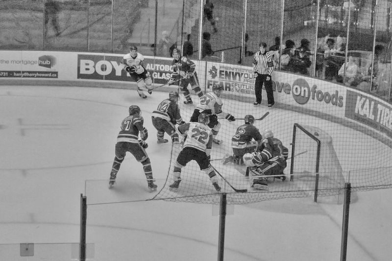 "Day 25/ 365project of Black And White in HDR ""In Hockey the Penticton Vees Know how to Goal."""