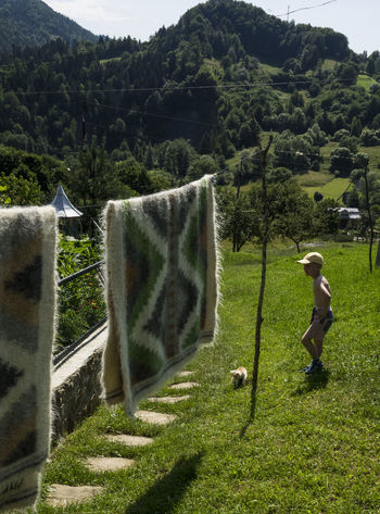 Caucasian boy playing with a kitten on a footpath near a fence of the country house in the mountains, on the left on the ropes dried homespun woolen blankets Beauty In Nature Blankets Country Day Domestic Animals Dried Field Grass Green Green Color Homespun House Kitten Landscape Mountain Mountain Range Nature Outdoors Playing Remote Scenics Solitude Tranquil Scene Tranquility Woolen