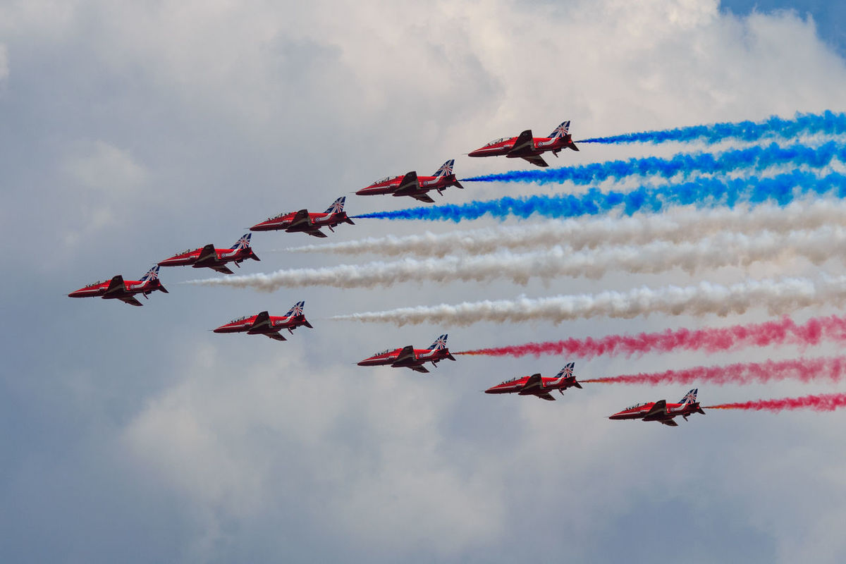 Adventure Club Airshow Cloud - Sky Colourful Mid-air Mode Of Transport National Museum Of Flight Red Arrows Sky