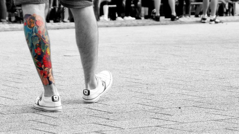 Human Leg Human Body Part Close-up Tattoo Streetphotography Black And White Street Photography Tattoodesign