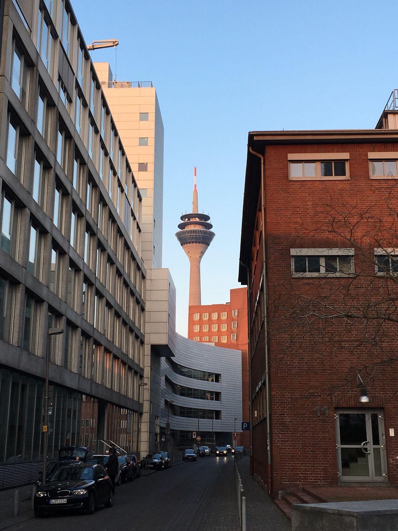 Düsseldorf Düsseldorf Medienhafen Rheinturm  Rheinturm Düsseldorf Urban Tower TV Tower Urban Canyon Streetphotography Street Canyon Street Photography EyeEm Best Shots EyeEm Best Edits EyeEm