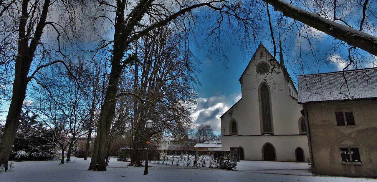 religion, place of worship, tree, winter, bare tree, snow, spirituality, built structure, cold temperature, architecture, building exterior, no people, branch, outdoors, day, nature, sky