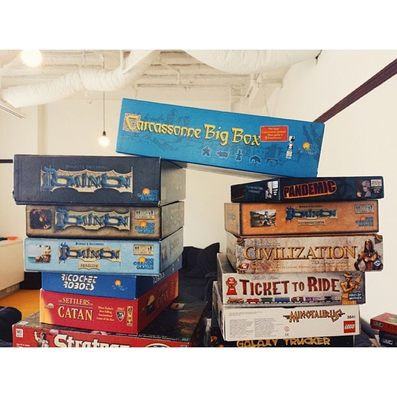 Precarious board game stacking. Atlassian Boardgamegeek Vscocam Sydney galaxys4
