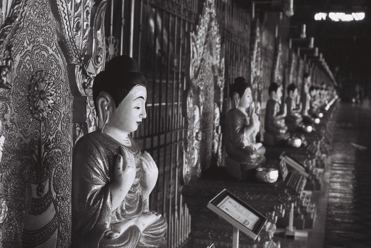 The Photojournalist - 2017 EyeEm Awards Ishootfilm Iusefilm 35mm Ilford FP4 Plus Backandwhite Buddha Buddhism Spirituality Arts Culture And Entertainment Sculpture Black And White Religion Travel Destinations Myanmar