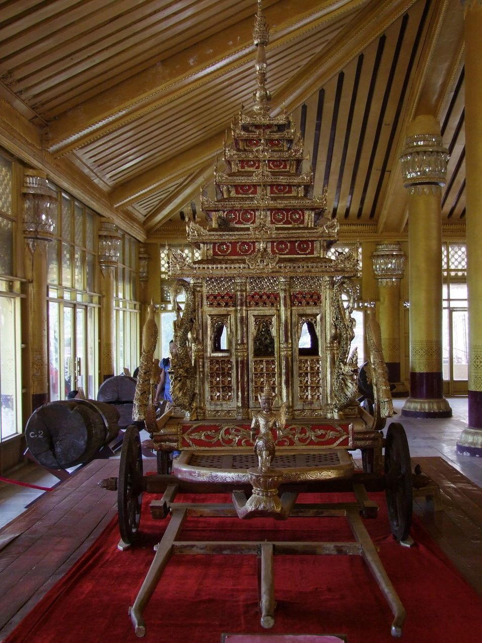 Royal Carriage, Palace of Kanbawzathadi (built 1553) Architectural Columns Assembly Hall Bago Carriage Composition Famous Place Full Frame Golden Colour Historic Building Indoor Photography Kings Myanmar Natural Light No People Palace Royal Carriage Royal Palace Tourist Attraction  Tourist Destination Unusual Wooden Architecture