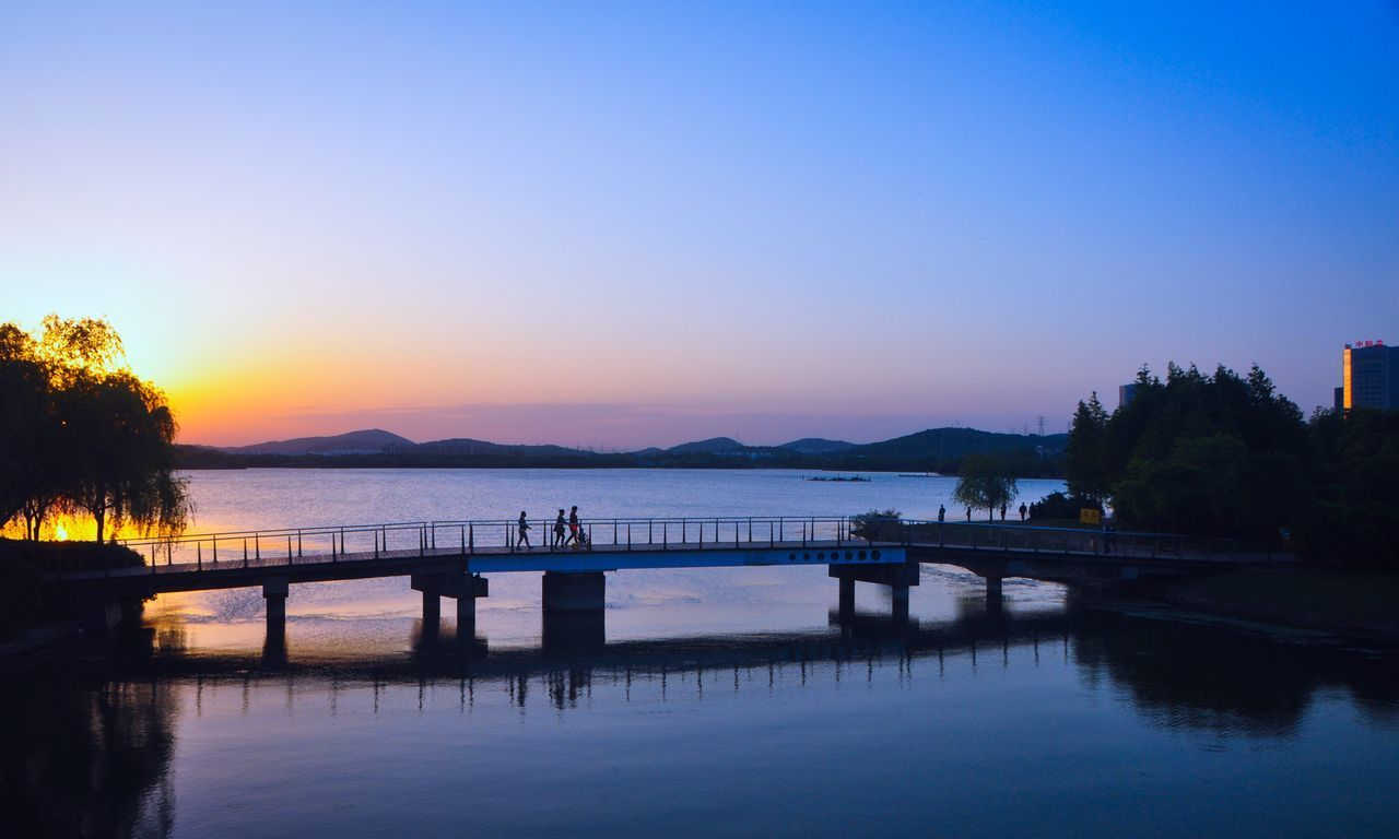 Sunset_collection Lakeview Evening Sky Reflection_collection Bridge Blue Sky Golden Hour Sunset✨trees✨