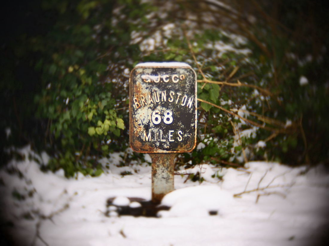 68 dude! Canals And Waterways Signage Signpost Snow Bush Text Day Outdoors No People Grand Union Canal 68 Vignette 50mm Bokeh Swirly