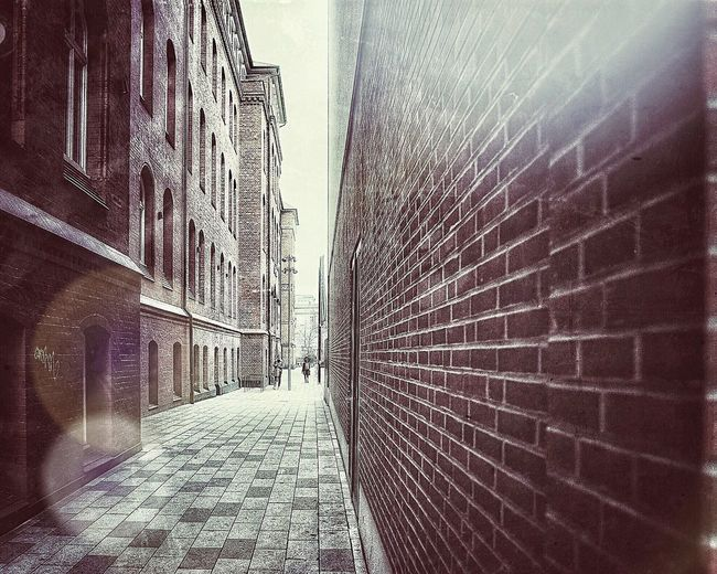 Architecture The Way Forward Built Structure Building Exterior Outdoors Day City No People Sky Brick Wall Little Street Small Streets Bokeh Photography Lensflare Deep Perspective Monochrome Photography