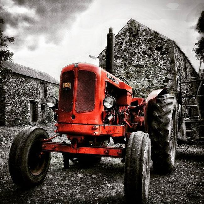 Vintage Tractor. Farm Agricultural Black And White And Red Colour Splash Got Character Here Belongs To Me Telling Stories Differently Showing Imperfection The Great Outdoors With Adobe Home Is Where The Art Is