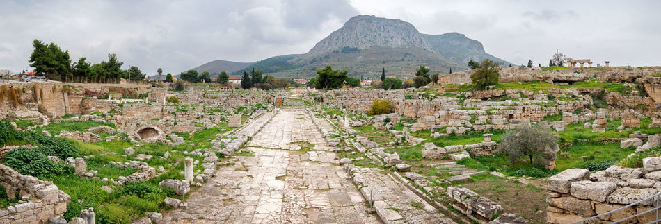 Cloud Cloud - Sky Cloudy Day Diminishing Perspective Footpath Landscape Mountain Nature Old City Corinth Plant Rock - Object Rock Formation Scenics Sky Stone - Object Stone Wall The Way Forward Tranquil Scene Tranquility Vanishing Point