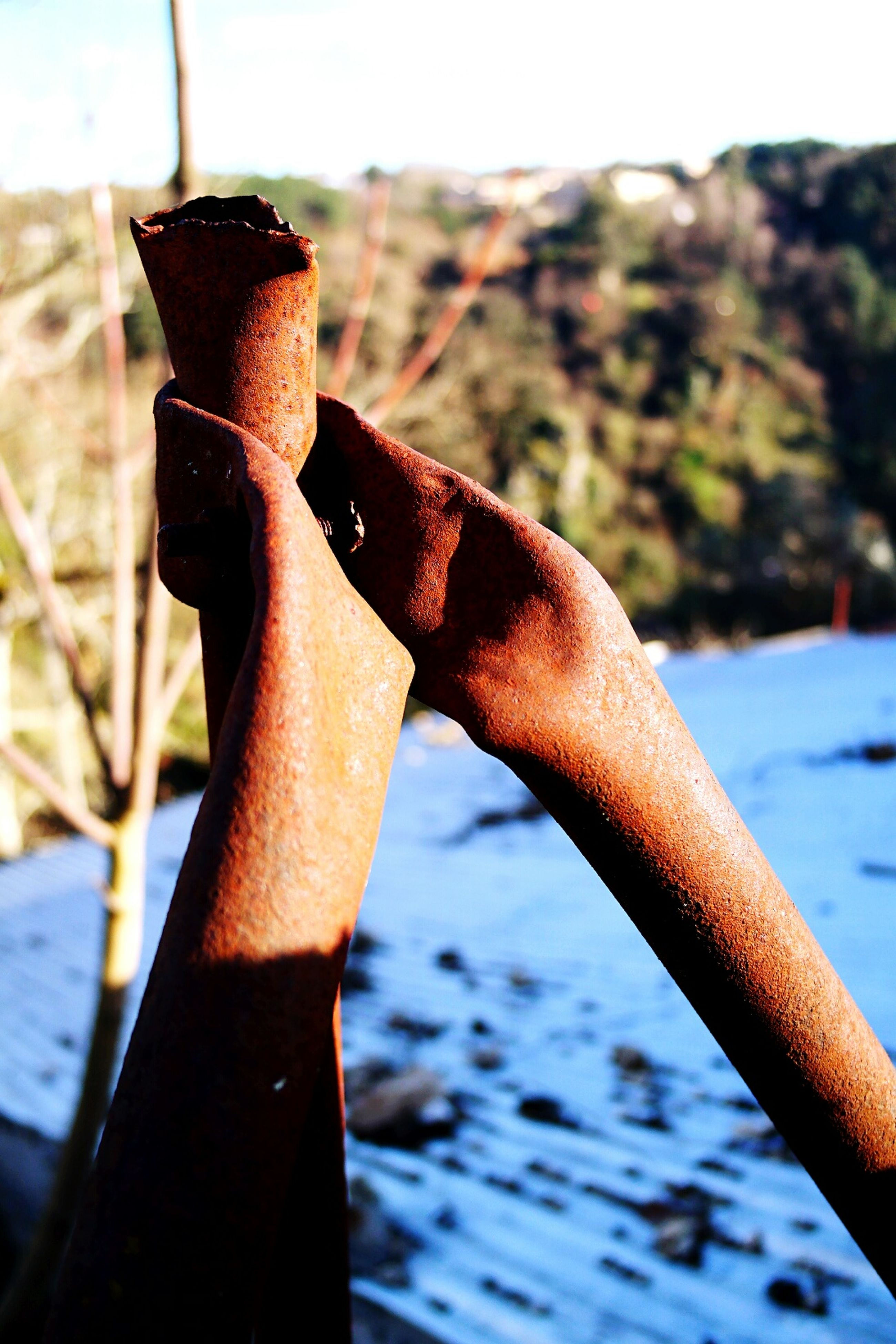 person, part of, focus on foreground, close-up, cropped, metal, holding, water, human finger, selective focus, day, personal perspective, metallic, outdoors, sky, rusty, river