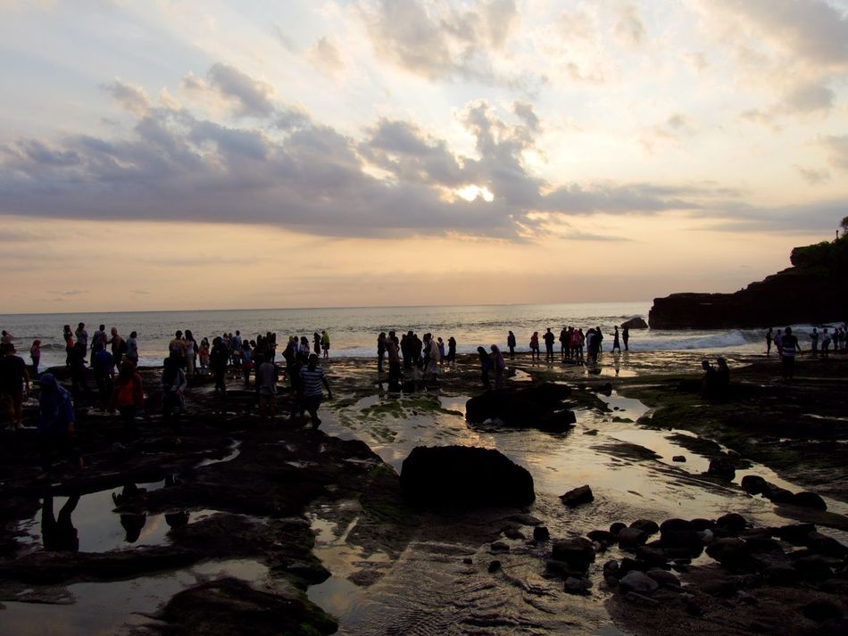 Large Group Of People Beach Sky Water Sea Sunset Silhouette Scenics Vacations Horizon Over Water Bali On The Beach Light And Shadow Life Is A Beach Holidays EyeEm Gallery Water Reflections Tanah Lot