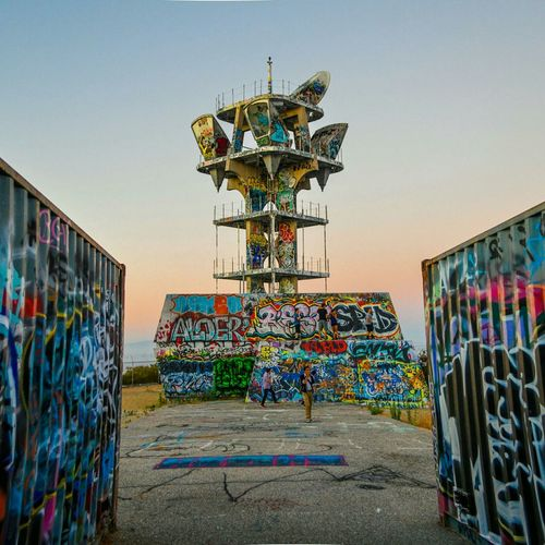Stunt Tower at sunset Stunt Road Graffiti Abandoned Urban Exploration