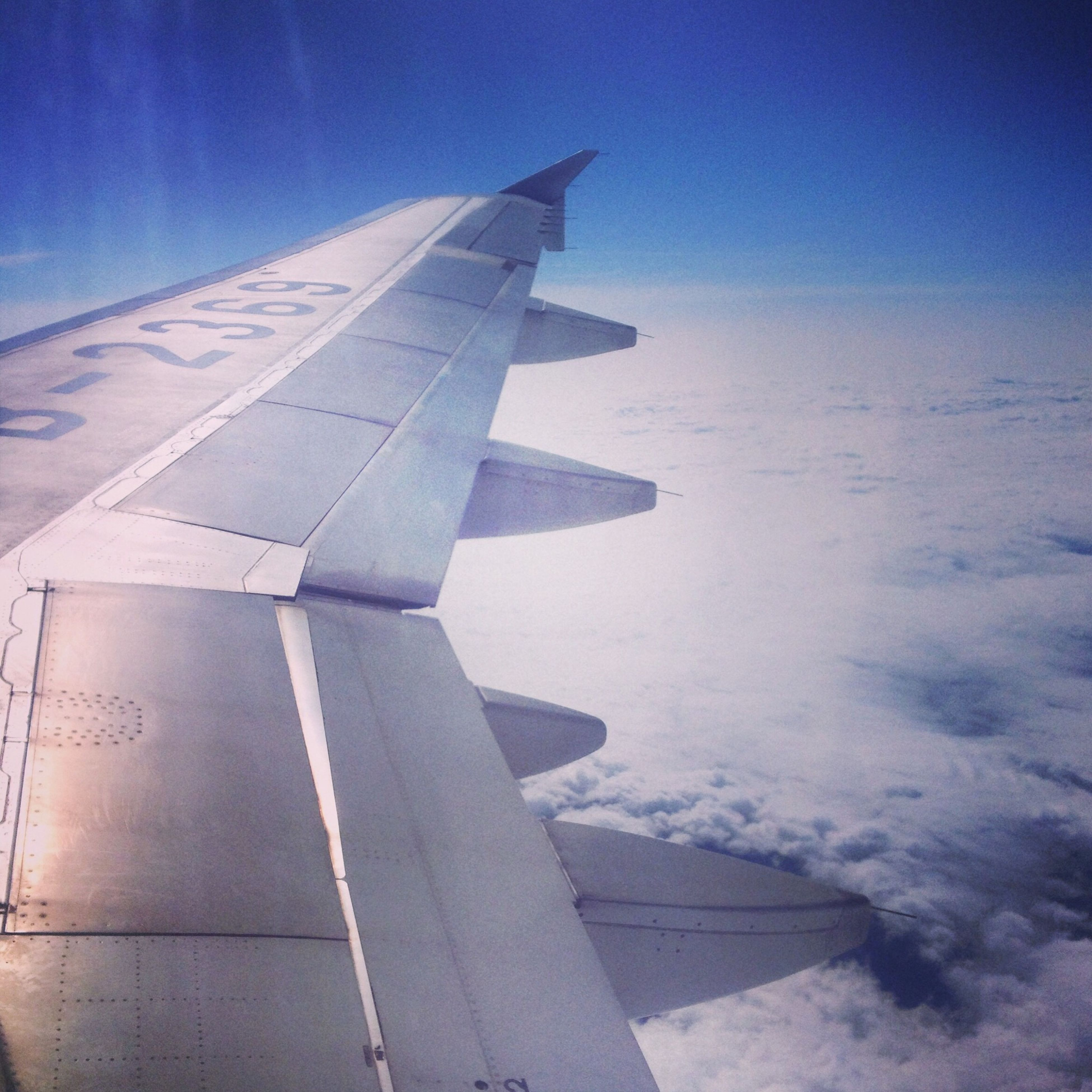 airplane, aircraft wing, air vehicle, transportation, flying, part of, cropped, blue, mode of transport, aerial view, travel, sky, clear sky, mid-air, journey, sunlight, on the move, outdoors, day, airplane wing
